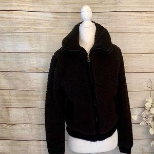 Bongo. Black Sherpa zip jacket. Size S